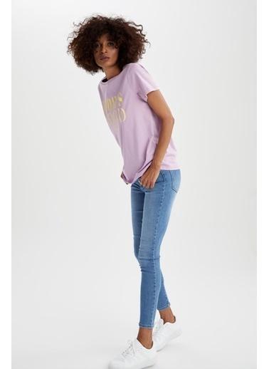 DeFacto Regular Fit Baskılı Kısa Kollu T-shirt Mor